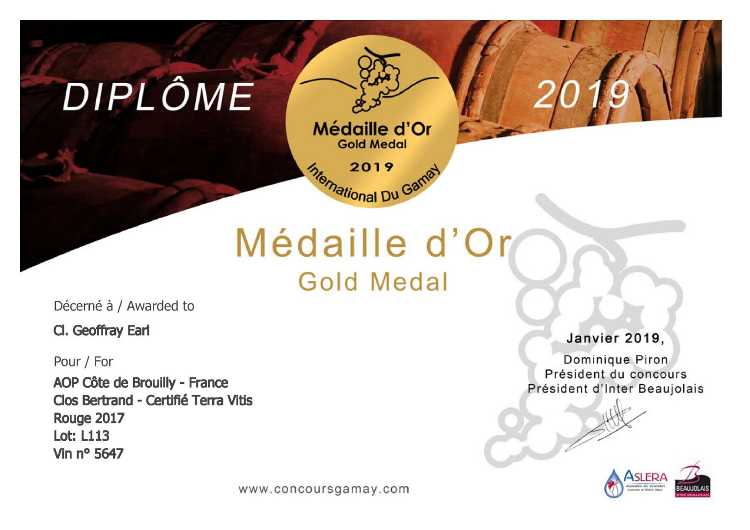 Concours International du Gamay 2019 - 2019/01